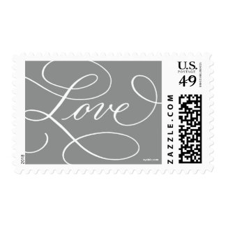 Love ... with a Flourish : Slate Grey and White Postage