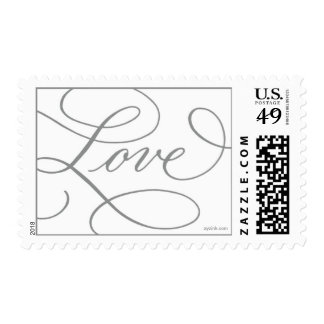 Love ... with a Flourish : Slate Grey and White Postage Stamp