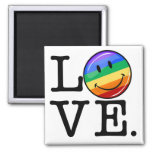 Love With A Happy Rainbow Flag Gay LGBT 2 Inch Square Magnet