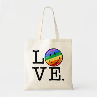 Love With A Happy Rainbow Flag Gay LGBT Budget Tote Bag