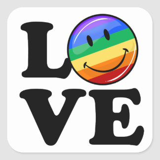 Love With A Happy Rainbow Flag Gay LGBT Square Sticker