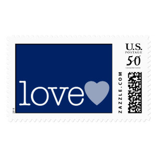 Love with a heart - navy blue postage