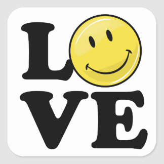 Love With A Smile Classic Happy Face Square Sticker