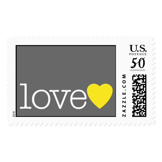 Love with a yellow heart and grey postage | Zazzle.com