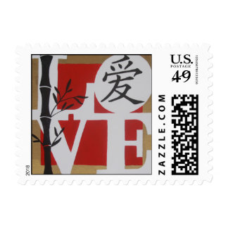 LOVE with Chinese character Stamp