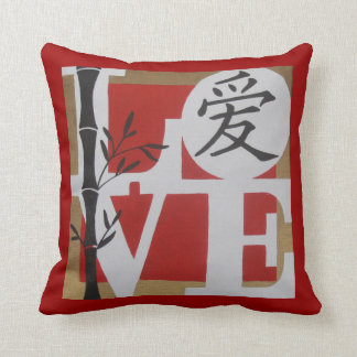 Love with Chinese character Throw Pillow