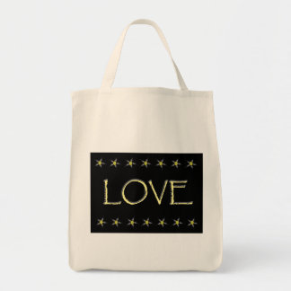 """Love"" with gray/yellow stars on black Grocery Tote Bag"