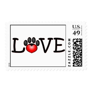 Love with heart in paw print stamp