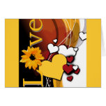 """""""Love"""" with hearts on dark background Greeting Card"""