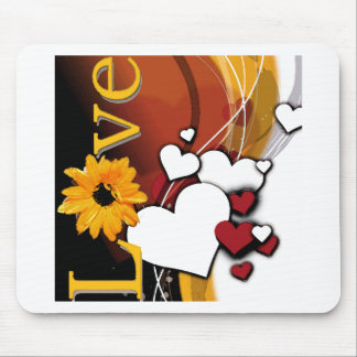"""""""Love"""" with hearts on dark background Mouse Pad"""