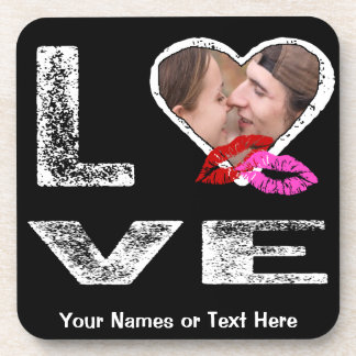 LOVE with Kisses - Photo Template Beverage Coaster