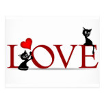 LOVE with little black kitty cats Postcard