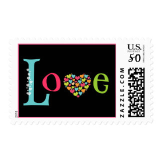 LOVE with lots of Heart in Bright Colors Postage