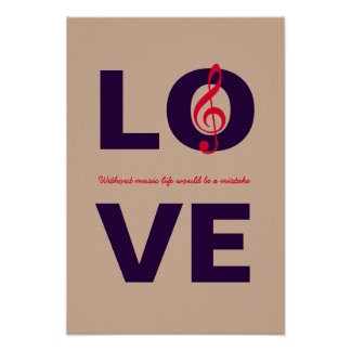 LOVE with musical note decor