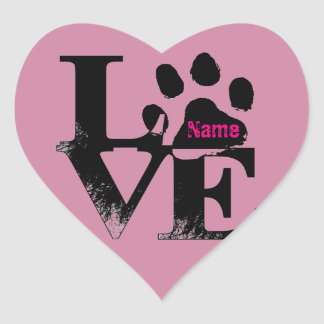 LOVE With Paw Heart Sticker