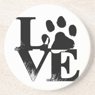 LOVE With Paw Sandstone Coaster