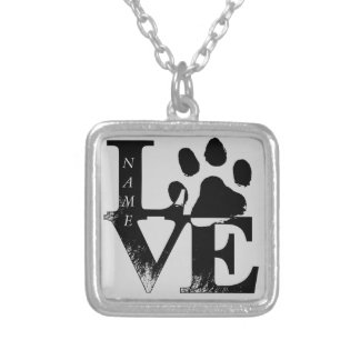 LOVE With Paw Silver Plated Necklace