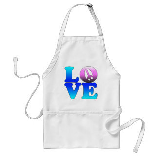 Love with Peace Sign Adult Apron