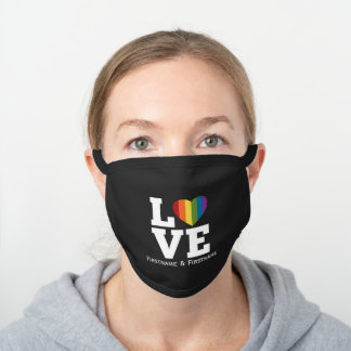 Love with Rainbow Heart Wedding Names Dates Black Cotton Face Mask