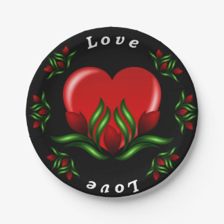 Love With Red Roses & Red Heart Paper Plate