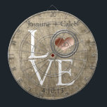 "Love-With This Ring by Shirley Taylor Dartboard With Darts<br><div class=""desc"">Love-with this ring... dartboard. Delete or change sample text,  font,  font color,  font size to your choice. Images can be rotated,  deleted,  or re-sized.</div>"