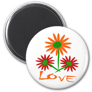 Love With Three Cute, Colorful Flowers With Stems 2 Inch Round Magnet