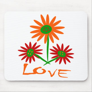 Love With Three Cute, Colorful Flowers With Stems Mouse Pad