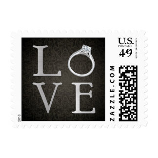 LOVE with Wedding Ring Postage Stamp