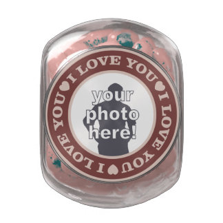LOVE with YOUR PHOTO custom tins & jars Jelly Belly Candy Jar