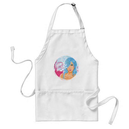 Love - Woman With Blue Hair Adult Apron