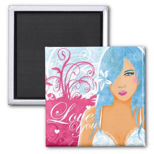 Love - Woman With Blue Hair Fridge Magnet