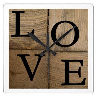 LOVE woodblock clock
