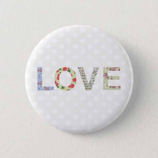 Love word art button badge
