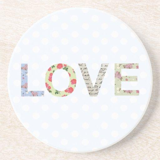 Love word art polka dot coaster