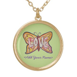 Love Word Green Butterfly Custom Name Necklaces