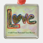 Love Word Ornament with Customized Text Option