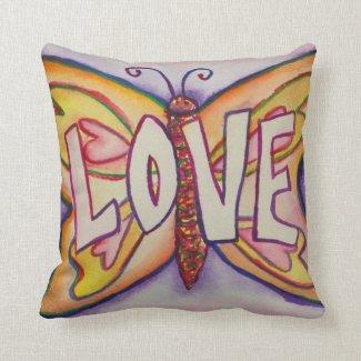 Love Word Pink Butterfly Art Custom Throw Pillows