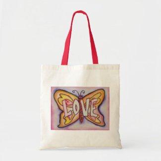 Love Word Pink Butterfly Art Custom Tote Bags