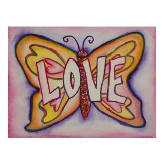 Love Word Pink Butterfly Art Print Posters