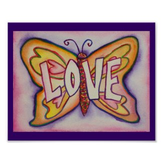 Love Word Pink Butterfly Artwork Poster Prints