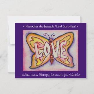Love Word Pink Butterfly Custom Art Invitations