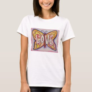 Love Word Pink Butterfly Custom Art T-Shirts