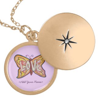 Love Word Pink Butterfly Custom Name Lockets