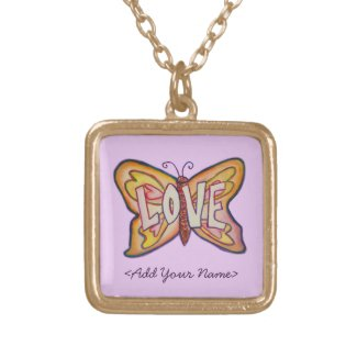 Love Word Pink Butterfly Custom Name Necklaces