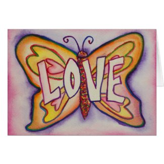 Love Word Pink Butterfly Greeting or Note Cards