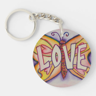 Love Word Pink Butterfly Keychain Art Pendant
