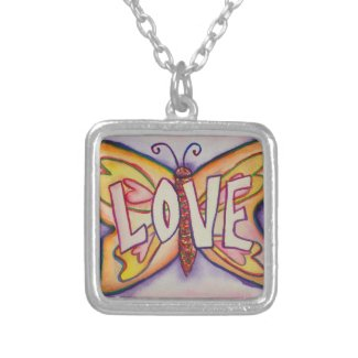 Love Word Pink Butterfly Necklace Art Jewelry