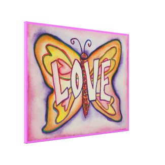 Love Word Pink Butterfly Painting Canvas Artwork