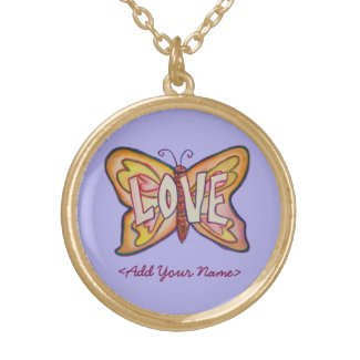 Love Word Purple Butterfly Custom Name Necklaces