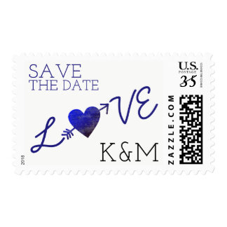 love word with heart & an arrow, save the date postage